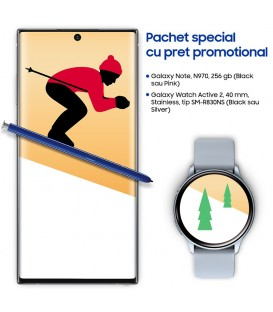 Pachet Samsung Galaxy Holiday cu telefon Note 10, 256GB si Watch Active 2, 40mm, tip SM-R830NS