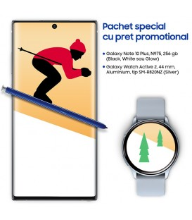 Pachet Samsung Galaxy Holiday cu telefon Note 10 Plus 256GB si Watch Active 2, 44mm, tip SM-R820NZ